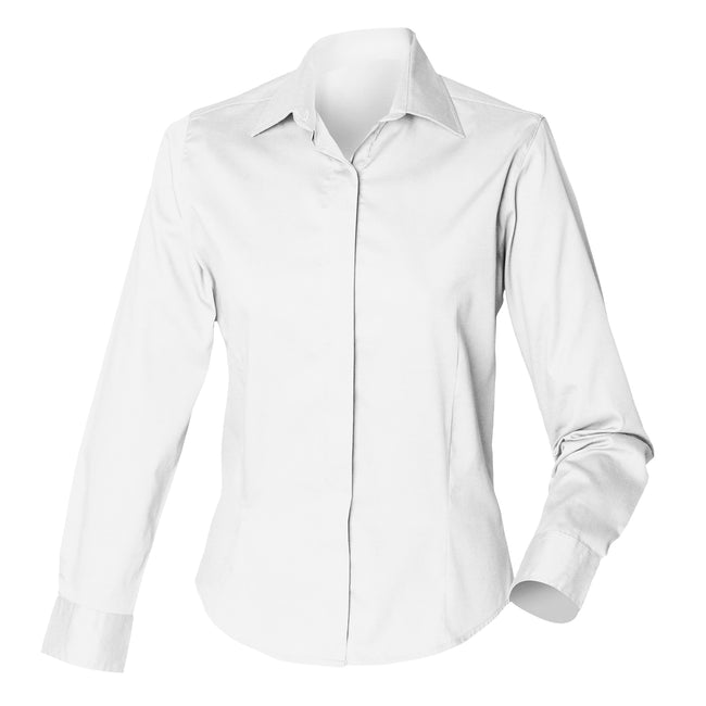 White - Front - Henbury Womens-Ladies Long Sleeve Oxford Fitted Work Shirt