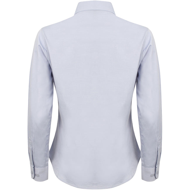 Light Blue - Back - Henbury Womens-Ladies Long Sleeve Oxford Fitted Work Shirt