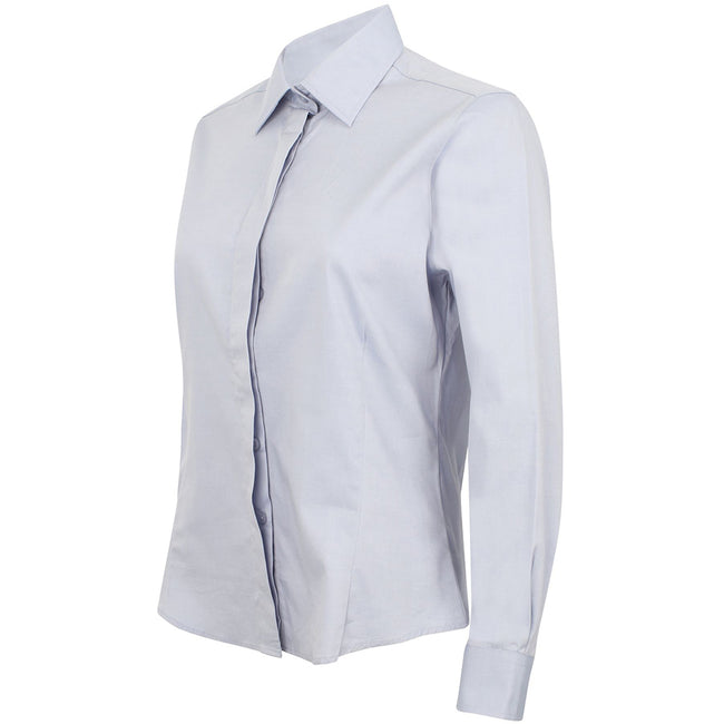 Light Blue - Side - Henbury Womens-Ladies Long Sleeve Oxford Fitted Work Shirt