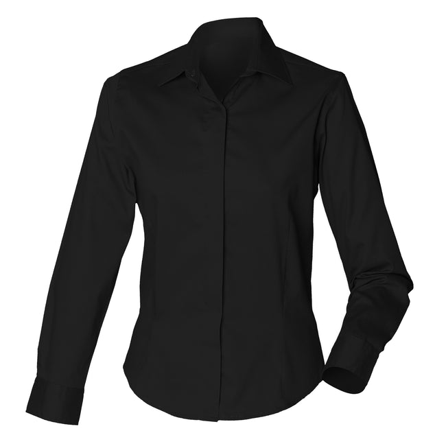 Black - Front - Henbury Womens-Ladies Long Sleeve Oxford Fitted Work Shirt