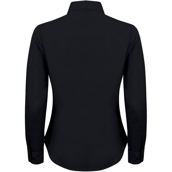 Black - Back - Henbury Womens-Ladies Long Sleeve Oxford Fitted Work Shirt