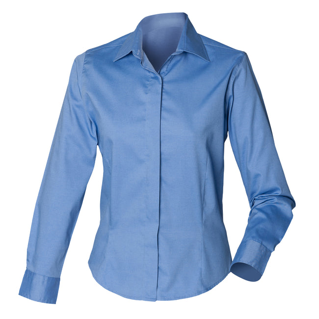 Corporate Blue - Front - Henbury Womens-Ladies Long Sleeve Oxford Fitted Work Shirt