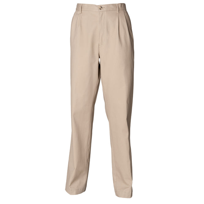 Stone - Front - Henbury Mens Teflon® Stain Resistant Coated Pleated Chino Work Trousers - Pants