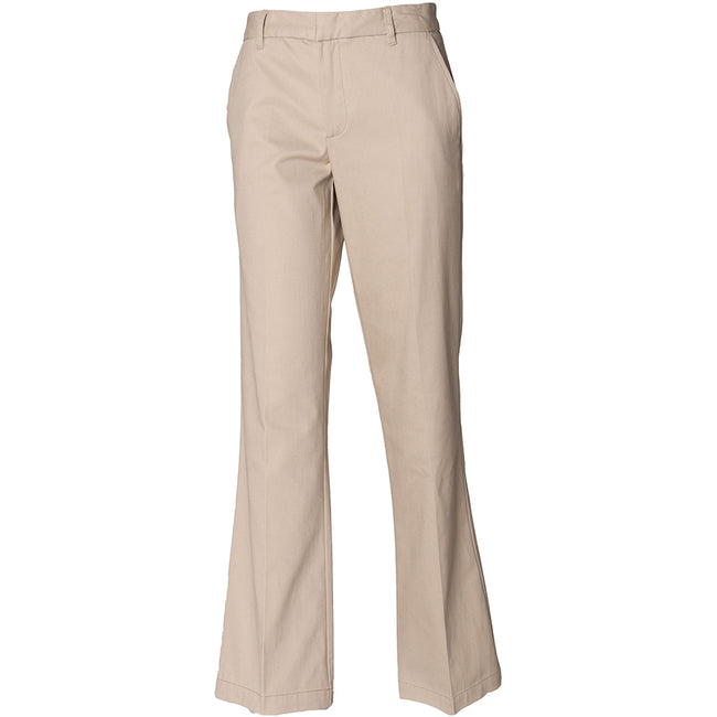Stone - Back - Henbury Mens Teflon® Stain Resistant Coated Pleated Chino Work Trousers - Pants