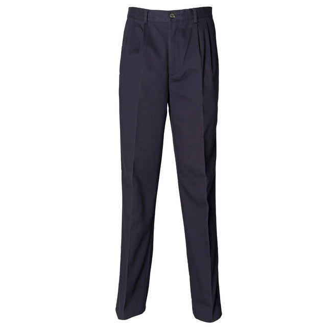 Navy - Front - Henbury Mens Teflon® Stain Resistant Coated Pleated Chino Work Trousers - Pants