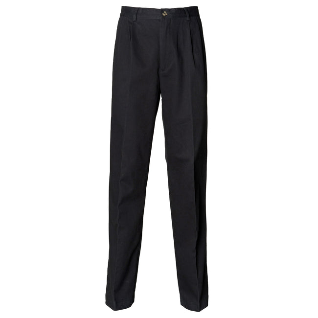 Black - Front - Henbury Mens Teflon® Stain Resistant Coated Pleated Chino Work Trousers - Pants