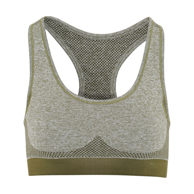 Olive Green - Front - TriDri Womens-Ladies Seamless 3D Fit Multi Sport Sculpt Bra