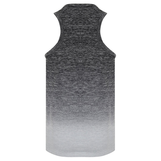 Dark Gray-Light Gray Marl - Back - Tombo Childrens Girls Seamless Fade-Out Undershirt