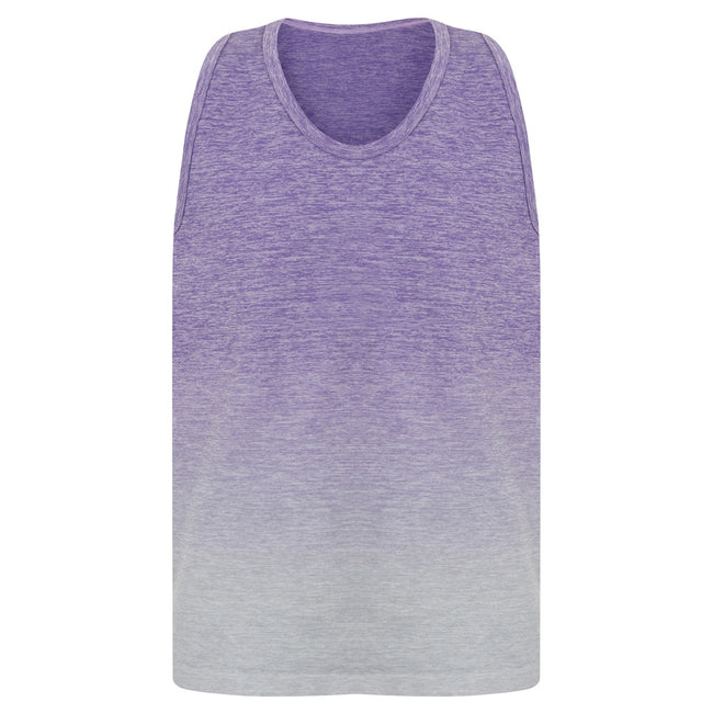 Purple-Light Gray Marl - Front - Tombo Childrens Girls Seamless Fade-Out Undershirt