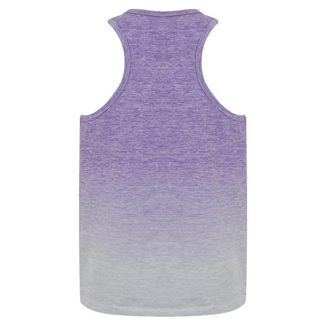 Purple-Light Gray Marl - Back - Tombo Childrens Girls Seamless Fade-Out Undershirt