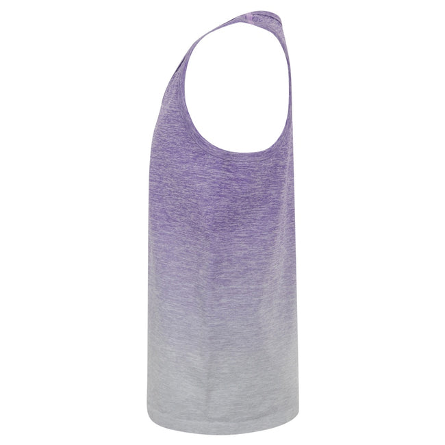 Purple-Light Gray Marl - Side - Tombo Childrens Girls Seamless Fade-Out Undershirt