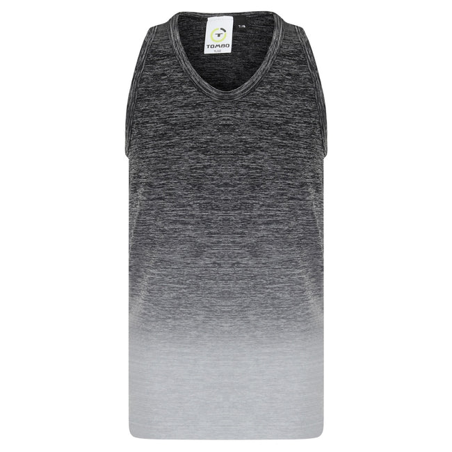 Dark Gray-Light Gray Marl - Front - Tombo Childrens Girls Seamless Fade-Out Undershirt