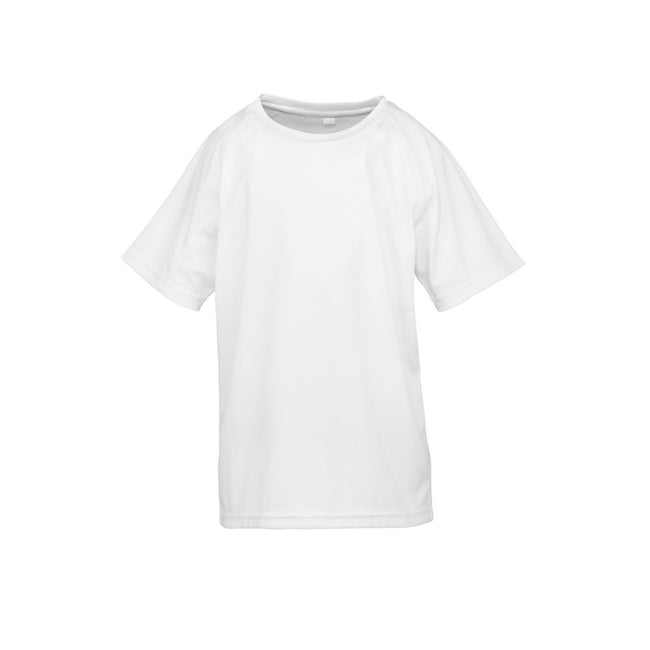 White - Front - Spiro Childrens Boys Performance Aircool T-Shirt