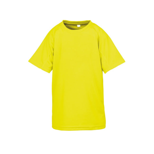 Flo Yellow - Front - Spiro Childrens Boys Performance Aircool T-Shirt