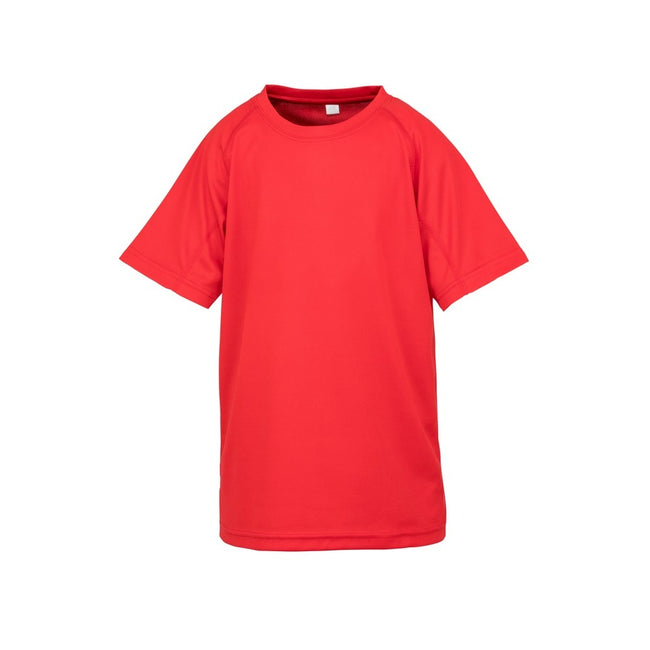 Red - Front - Spiro Childrens Boys Performance Aircool T-Shirt