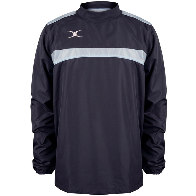 Dark Navy-Sky Blue - Front - Gilbert Childrens-Kids Photon Warm-Up Top