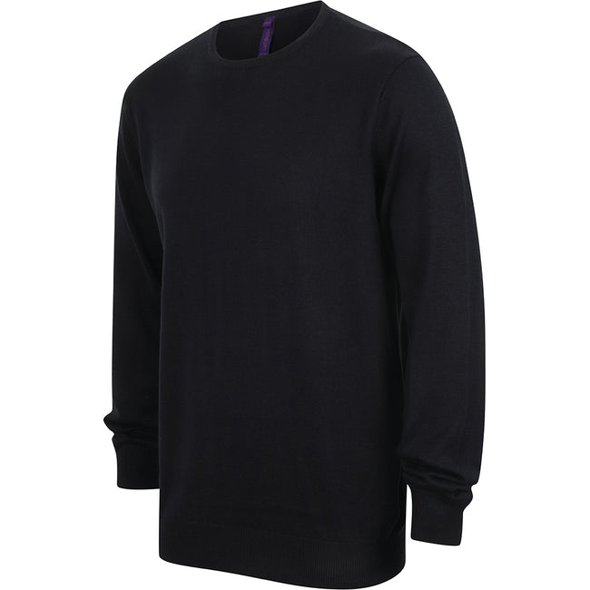 Navy - Lifestyle - Henbury Mens Crew Neck 12 Gauge Fine Knit Jumper - Sweatshirt