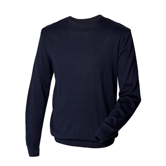 Navy - Pack Shot - Henbury Mens Crew Neck 12 Gauge Fine Knit Jumper - Sweatshirt