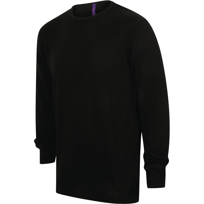 Black - Lifestyle - Henbury Mens Crew Neck 12 Gauge Fine Knit Jumper - Sweatshirt