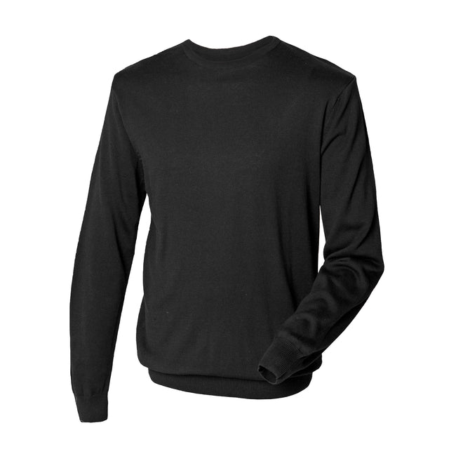 Black - Pack Shot - Henbury Mens Crew Neck 12 Gauge Fine Knit Jumper - Sweatshirt
