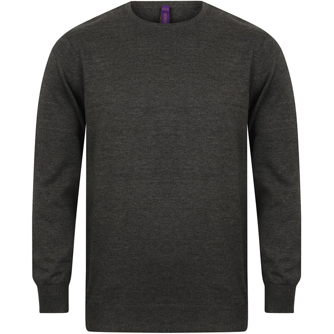 Grey Marl - Front - Henbury Mens Crew Neck 12 Gauge Fine Knit Jumper - Sweatshirt