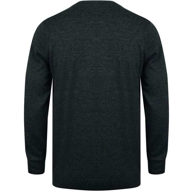 Grey Marl - Back - Henbury Mens Crew Neck 12 Gauge Fine Knit Jumper - Sweatshirt