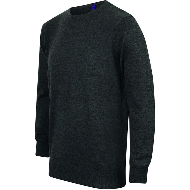 Grey Marl - Lifestyle - Henbury Mens Crew Neck 12 Gauge Fine Knit Jumper - Sweatshirt