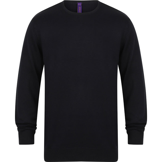 Navy - Front - Henbury Mens Crew Neck 12 Gauge Fine Knit Jumper - Sweatshirt