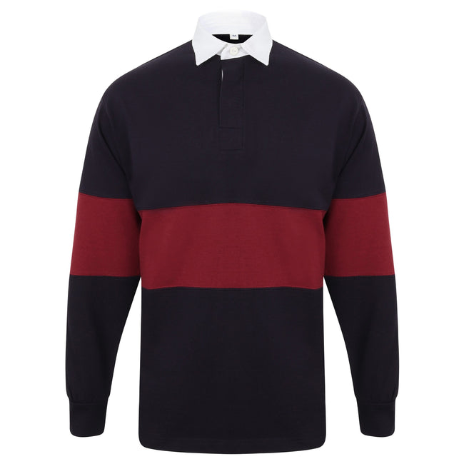 Navy-Burgundy - Front - Front Row Adults Unisex Panelled Tag Free Rugby Shirt