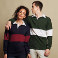 Navy-Burgundy - Back - Front Row Adults Unisex Panelled Tag Free Rugby Shirt