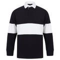 Navy-White - Front - Front Row Adults Unisex Panelled Tag Free Rugby Shirt