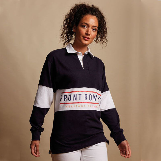 Navy-White - Back - Front Row Adults Unisex Panelled Tag Free Rugby Shirt