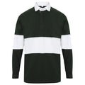 Bottle Green-White - Front - Front Row Adults Unisex Panelled Tag Free Rugby Shirt