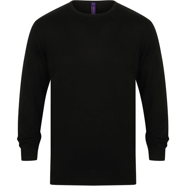 Black - Front - Henbury Mens Crew Neck 12 Gauge Fine Knit Jumper - Sweatshirt