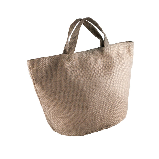 Natural-Cappuccino - Front - Kimood Womens-Ladies Fashion Jute Bag (Pack of 2)