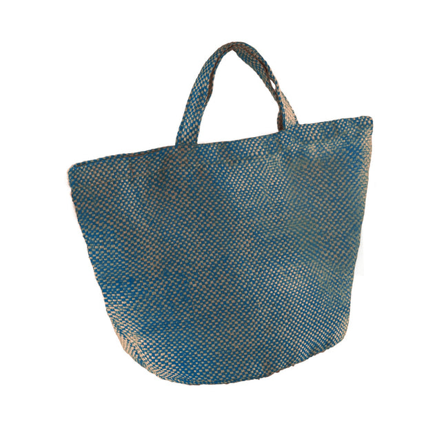 Natural-Ink Blue - Front - Kimood Womens-Ladies Fashion Jute Bag (Pack of 2)