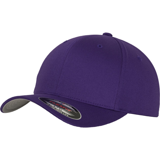 Purple - Front - Yupoong Mens Flexfit Fitted Baseball Cap (Pack of 2)