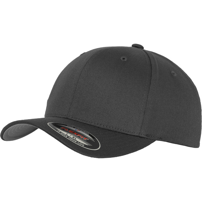 Dark Grey - Front - Yupoong Mens Flexfit Fitted Baseball Cap (Pack of 2)