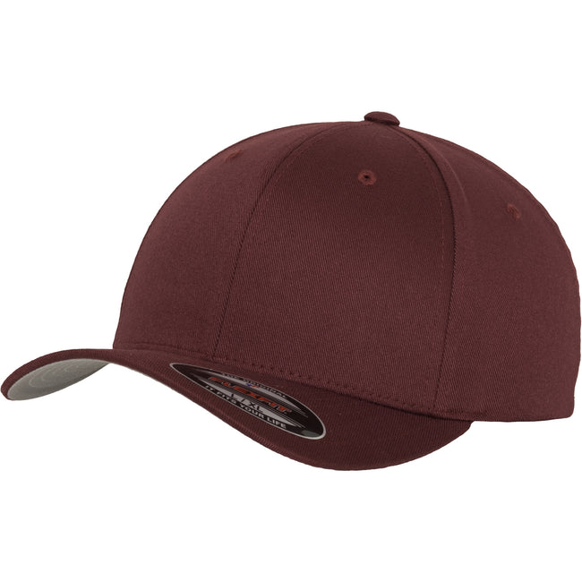 Maroon - Front - Yupoong Mens Flexfit Fitted Baseball Cap (Pack of 2)