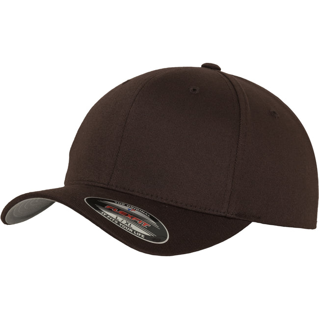 Brown - Front - Yupoong Mens Flexfit Fitted Baseball Cap (Pack of 2)