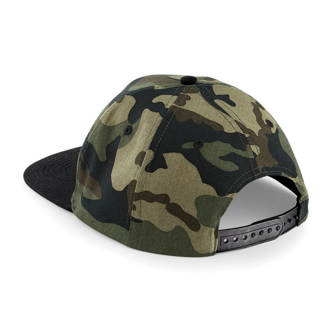 Jungle Camo- Black - Front - Beechfield Camouflage Retro Snapback Cap (Pack of 2)