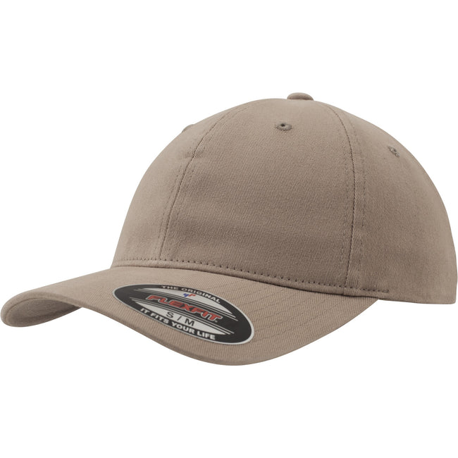 Khaki - Front - Flexfit Garment Washed Cotton Dad Baseball Cap (Pack of 2)