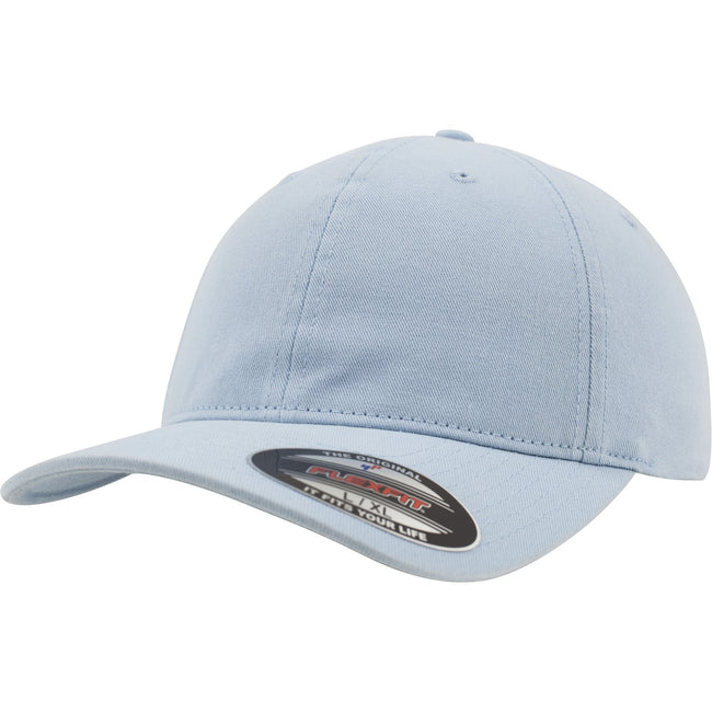 Light Blue - Front - Flexfit Garment Washed Cotton Dad Baseball Cap (Pack of 2)