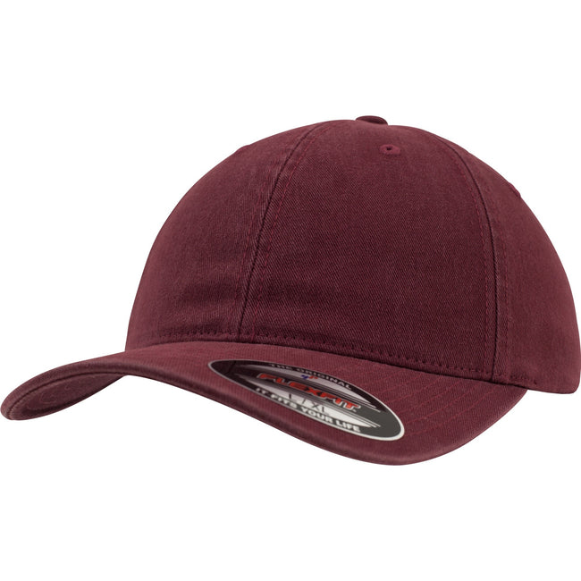 Maroon - Front - Flexfit Garment Washed Cotton Dad Baseball Cap (Pack of 2)