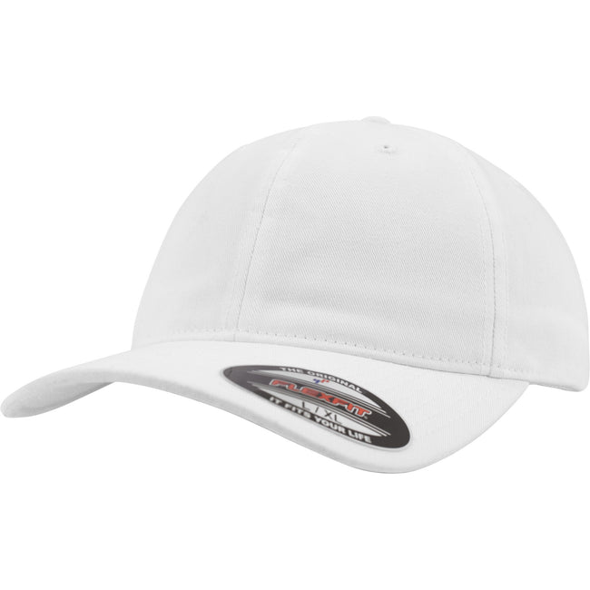 White - Front - Flexfit Garment Washed Cotton Dad Baseball Cap (Pack of 2)