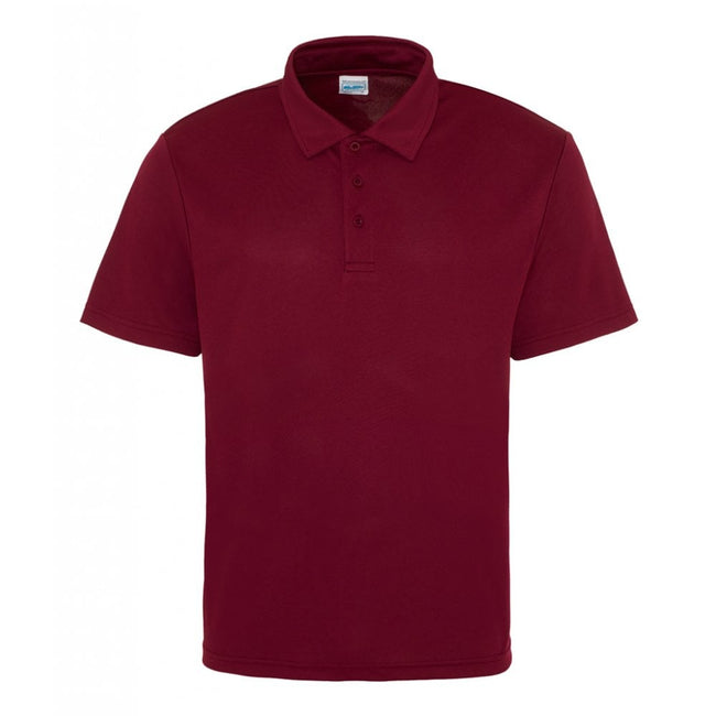Burgundy - Side - Just Cool Mens Plain Sports Polo Shirt