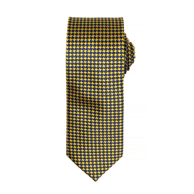 Gold - Front - Premier Mens Puppy Tooth Formal Work Tie (Pack of 2)