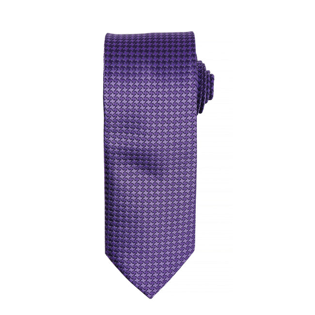 Purple - Front - Premier Mens Puppy Tooth Formal Work Tie (Pack of 2)