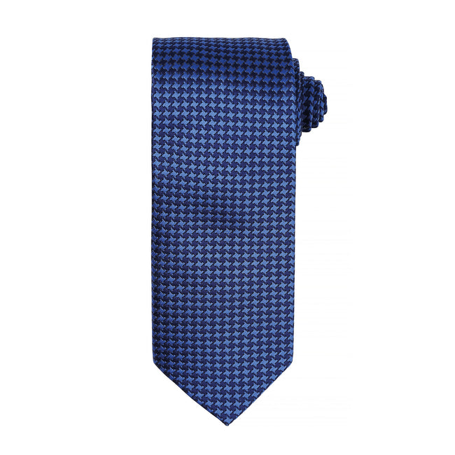 Royal - Front - Premier Mens Puppy Tooth Formal Work Tie (Pack of 2)