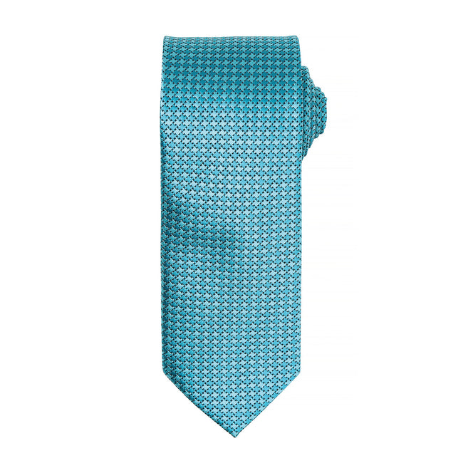 Turquoise - Front - Premier Mens Puppy Tooth Formal Work Tie (Pack of 2)